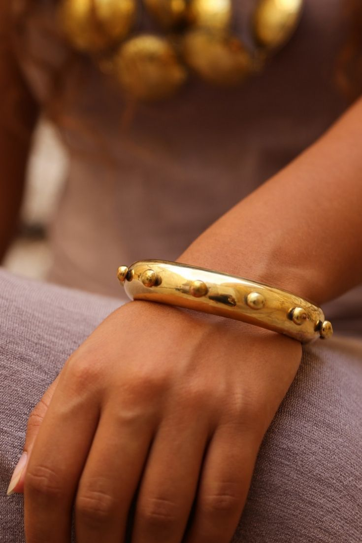 Hamimi design Hebba Thick Brass Bangle. Artisan made in Marrakech.