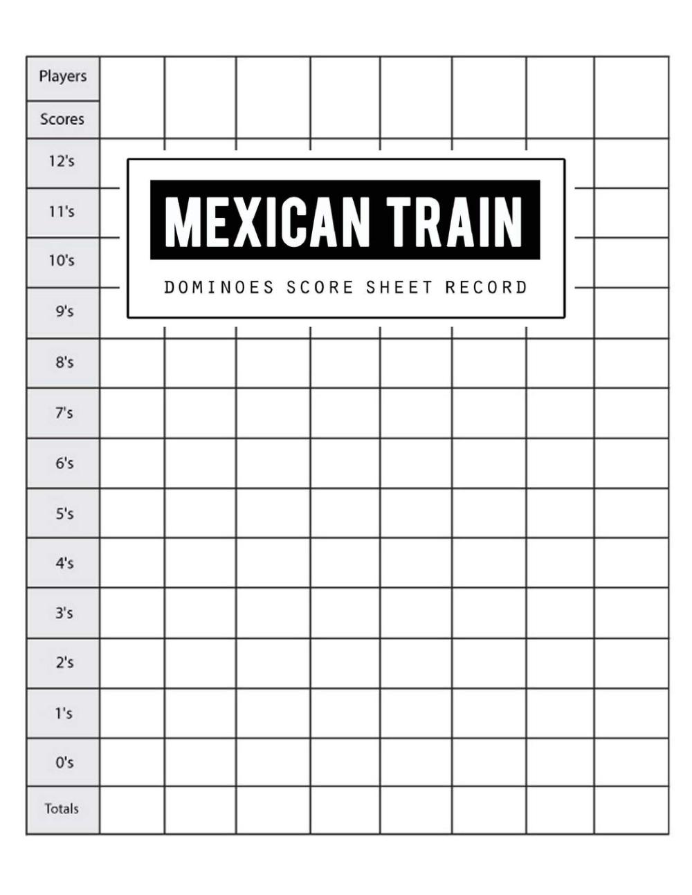 Mexican Train Score Record Dominoes Mexican Train Scoring
