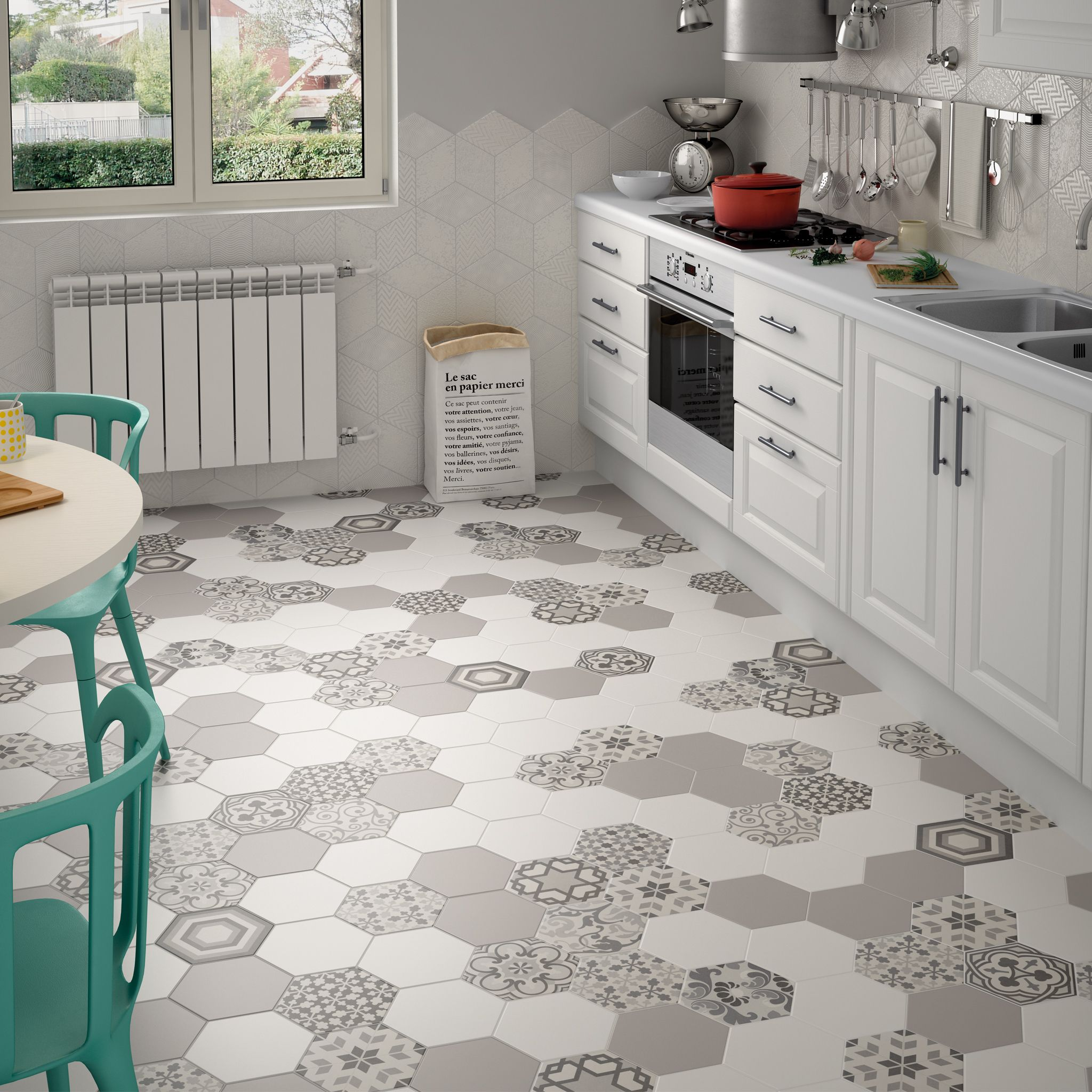Mosaic Tile Kitchen Floor Hexagon Random Pattern Decorative Tiles In Black White Colours