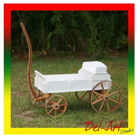 Antique Kids Wooden White Wagon Great For Baby Children In Wedding