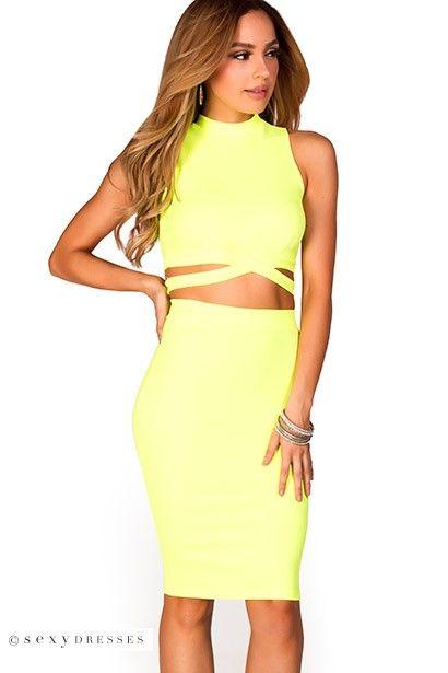 Carrie Neon Lime Green Crisscross Sleeveless Crop Top Two Piece Dress Two Piece Dress Sleeveless Crop Top Crop Top Dress