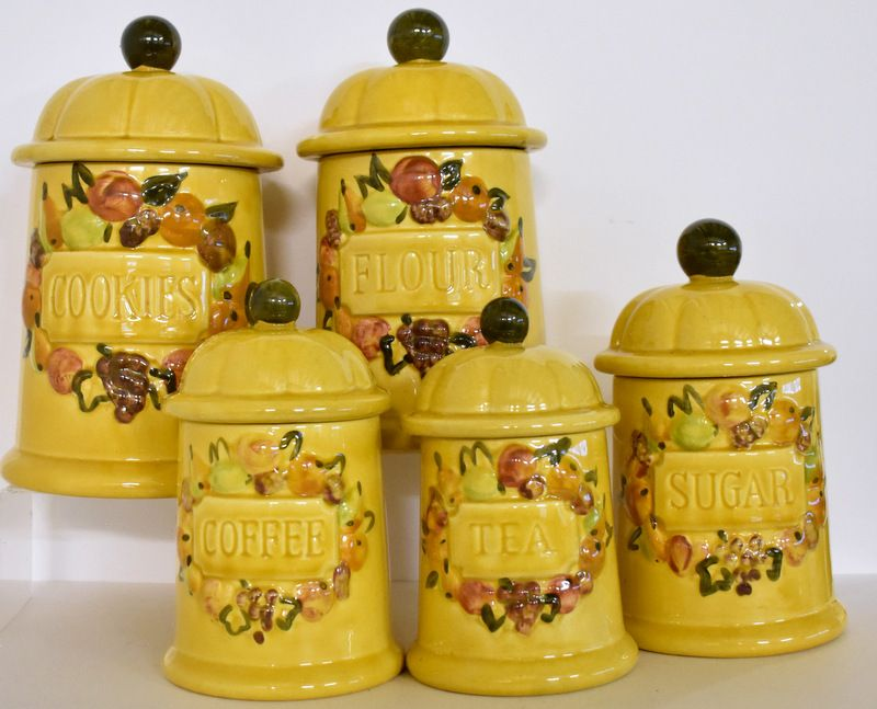 Vintage Canister Set Mid Century Ceramic Canister Set Includes