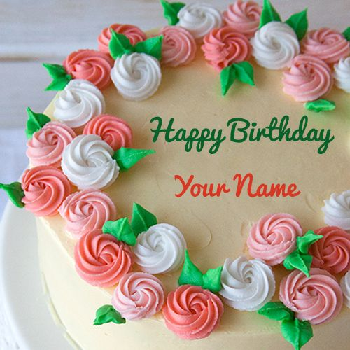 Happy Birthday Pink And Green Flower Cake With Name Cake Name Pink Rose Cake Flower Cake