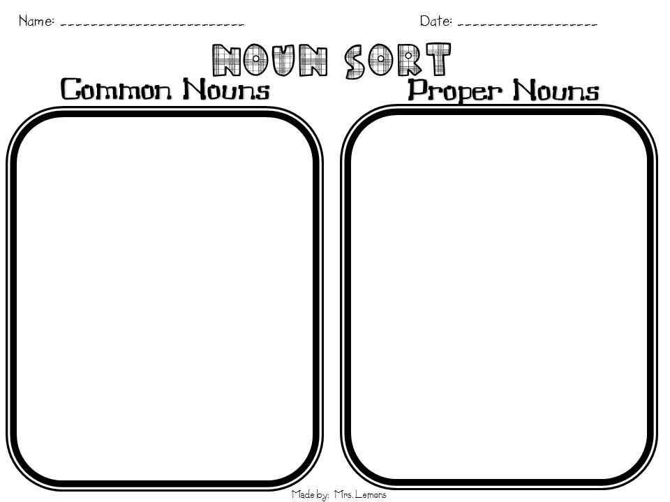Noun Sort Use Pictues Language Arts Pinterest Proper Nouns