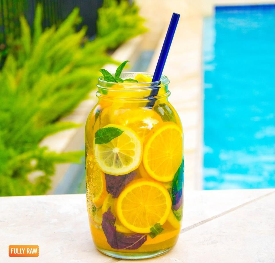 Fully Raw Lemonade:  fill a 64 oz mason jar with orange and lemon slices, mint, and purple basil, then water. refrigerate overnight for a more intense, infused flavor!