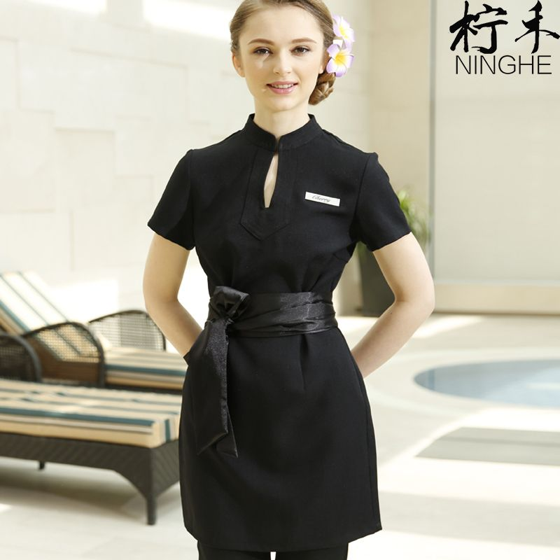 Work clothes spring autumn thai massage uniforms purple for Uniform massage spa