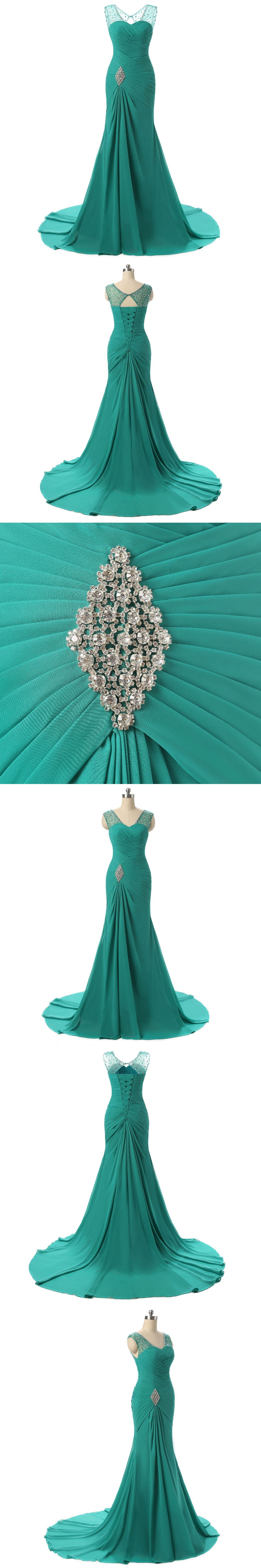 New collection turquoise prom dresses pleated ruched backless
