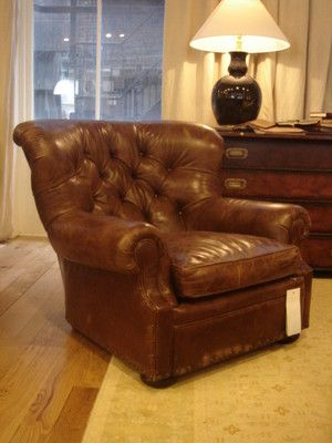 RALPH LAUREN HOME Writers Brown Leather Chair Armchair Henredon