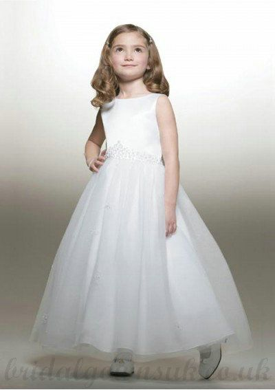 A Line Bateau Knee Length White Organza Flower Girl Dress | Flower ...