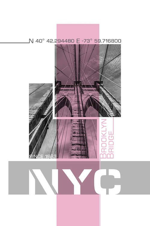 Poster Art NYC Brooklyn Bridge Details | Pink ... | Melanie Viola | iCanvas