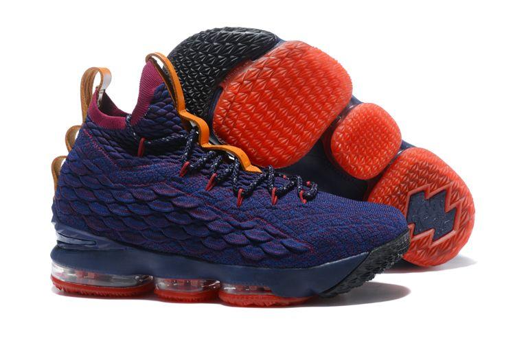 917fa2fd8295 Nike-LeBron-15-Cavs-Navy-Wine-Vachetta-Tan-Mens-Basketball-Shoes-3 ...