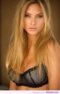 sexy blonde in bra