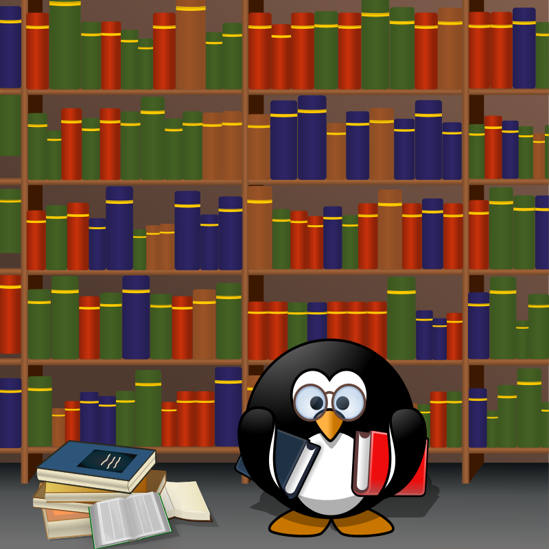 Library Clip Art | Free Penguin in the Library Clip Art