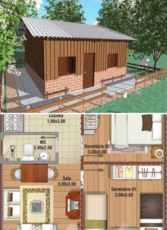Planta de casa popular de madeira. (Foto: Só Projetos)