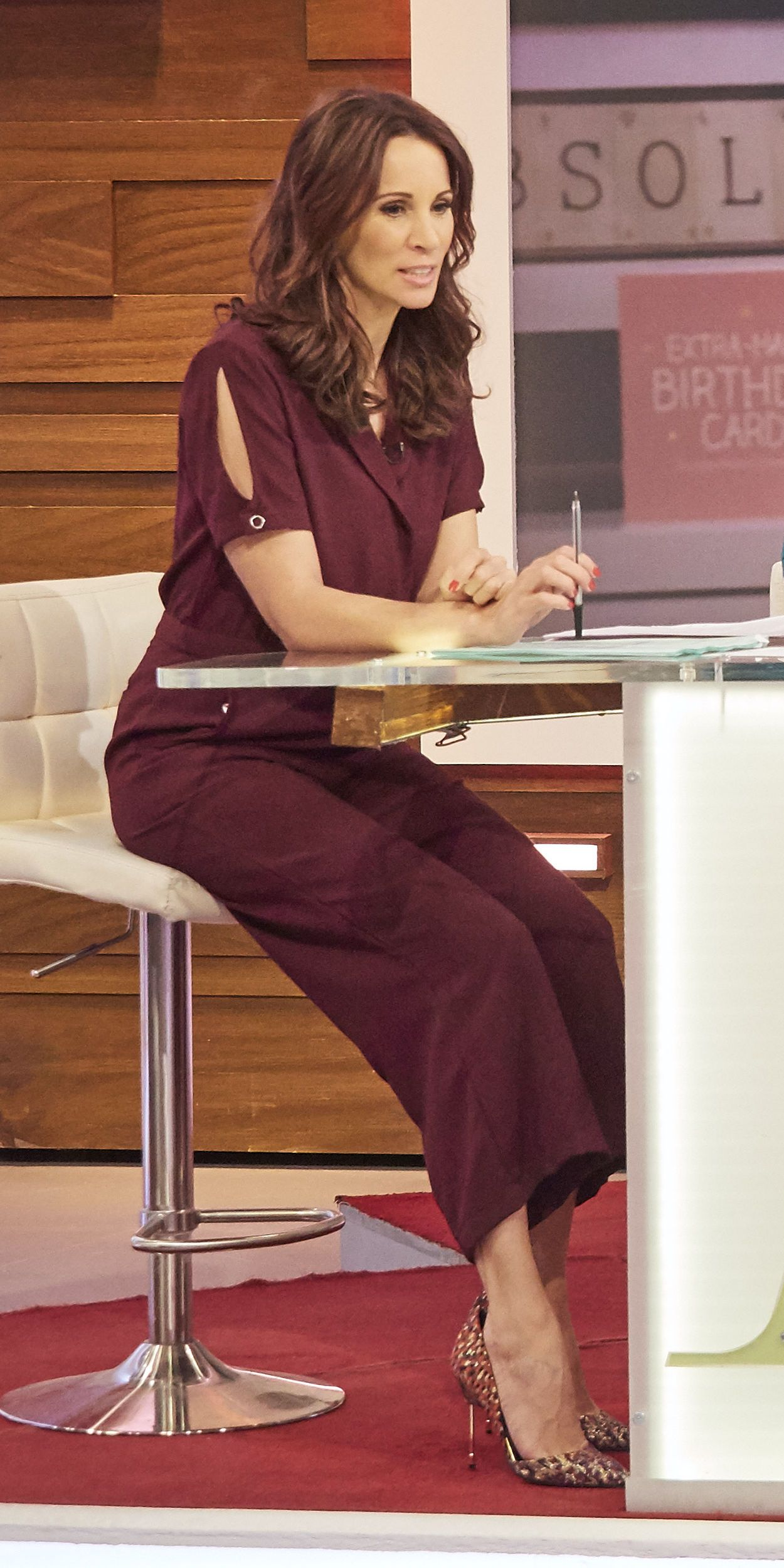 0905158f2c7f Loose Women s Andrea McLean wearing Sosandar burgundy jumpsuit to present  the show