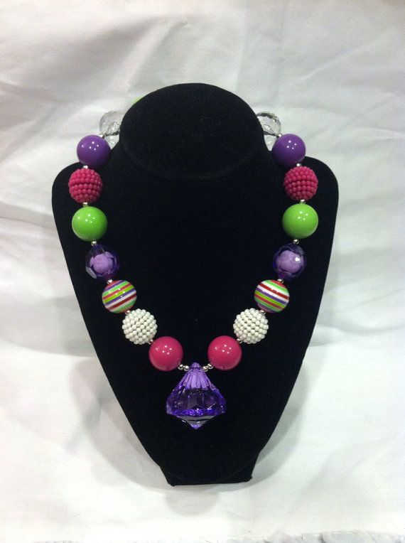 Colorful chunky bubblegum necklace on Etsy, $9.99