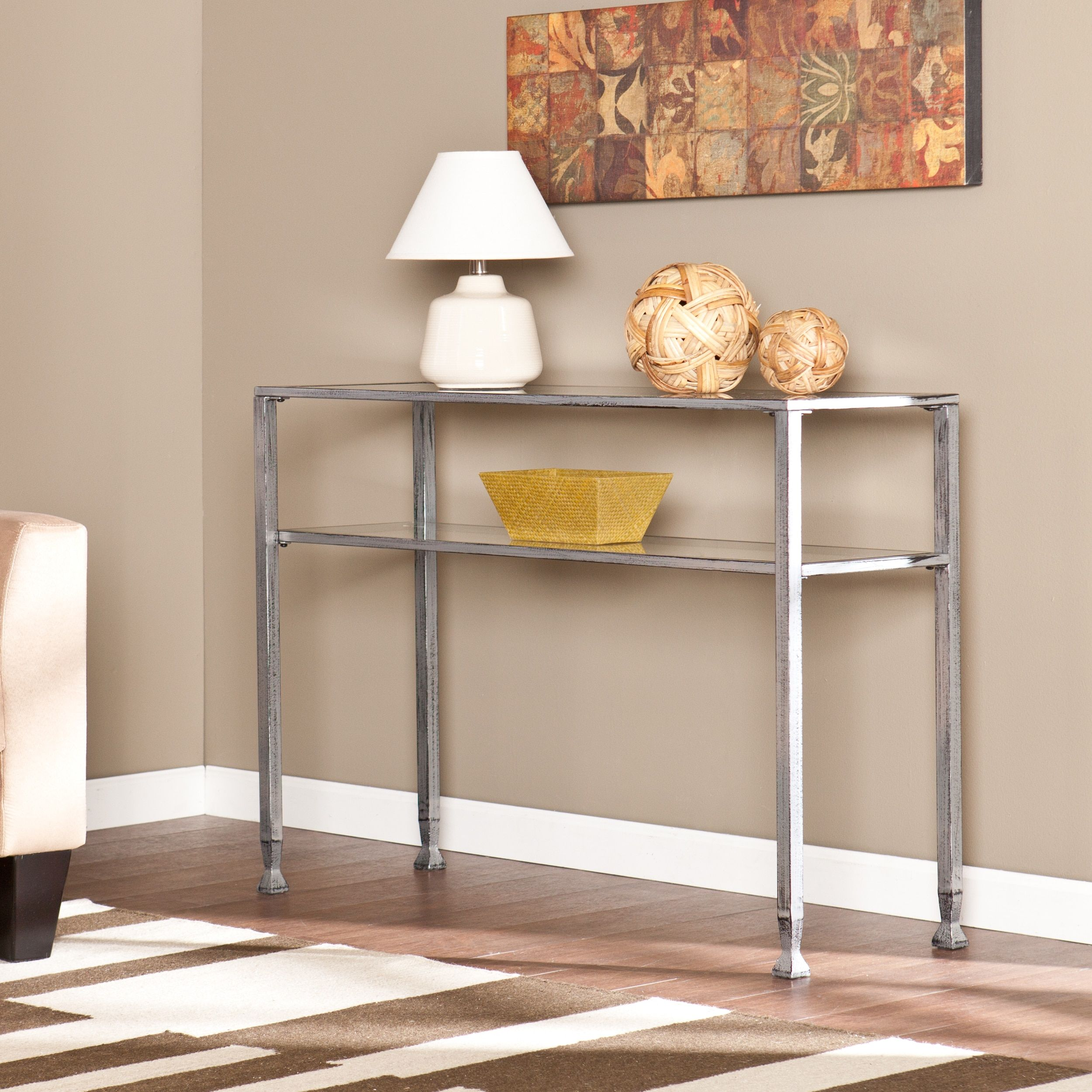 silver glass living room furniture%0A Harper Blvd Silver Metal and Glass Console Table by Harper Blvd  Silver  MetalLiving Room FurnitureConsole