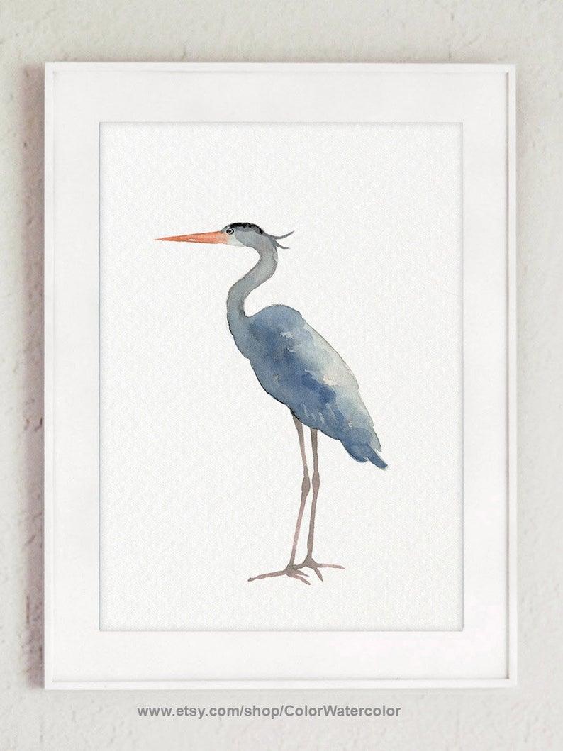 Heron Wall Decor Heron Home Decor Heron Painting Blue Heron Etsy In 2020 Coral Art Print Painting Coral Painting
