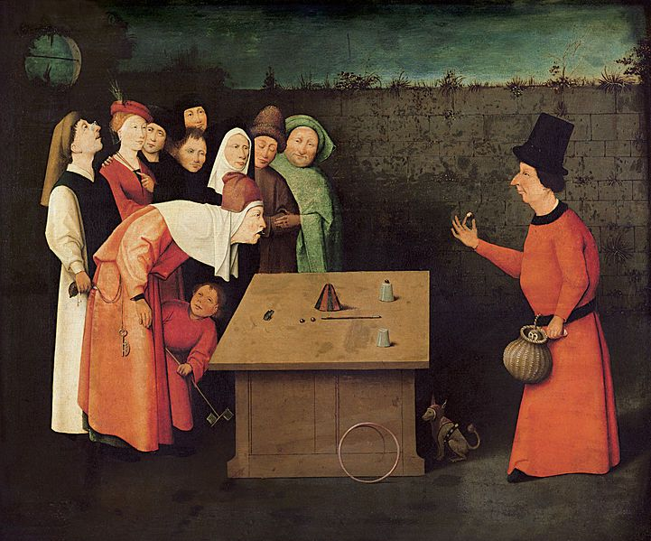De goochelaar. Heronimus Bosch (ontwerper), Balthazar van de Bos (graveur), 1528-1580. Helft 16e eeuw neemt het wantrouwen tegenover goochelaars toe onder invloed van de demonologen. Goochelaars zouden hun kunsten alleen kunnen uitvoeren met behulp van de duivel. Jean Bodin zegt in 1580: Want hij die de ogen verblindt en laat zien wat er niet is, heeft te doen met Satan.