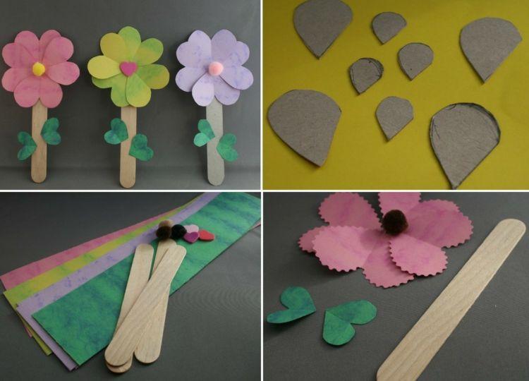 Papierblumen Basteln Kindern Schablone Selber Machen Pappe
