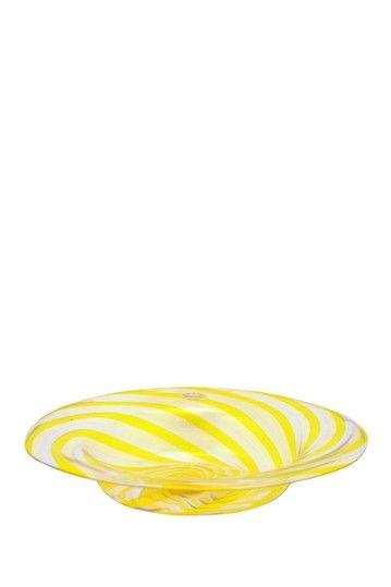 Vintage Murano Glass Filigrane Plate - Yellow Stripe by Casa Di Francesca on @HauteLook $99