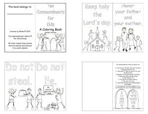 ten commandments for kids a mini coloring book with simple cartoon images to help teach