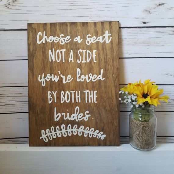 LGBTQ wedding Decor Rustic Wedding Signage Lesbian Wedding Two Brides Same Sex Wedding Ceremony Sign LGBT Wedding Decor Custom Sign