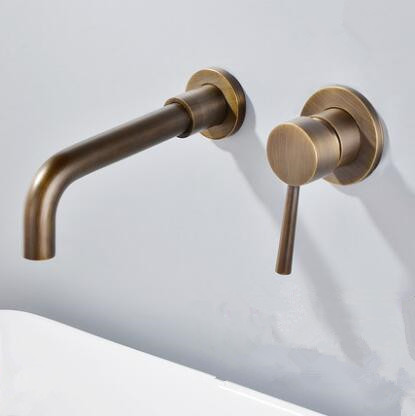 Antique Brass Concealed Installation Wall Mounted Bathroom Sink Faucet F0245a In 2020 Bathroom Sink Taps Wall Mounted Bathroom Sinks Sink Taps