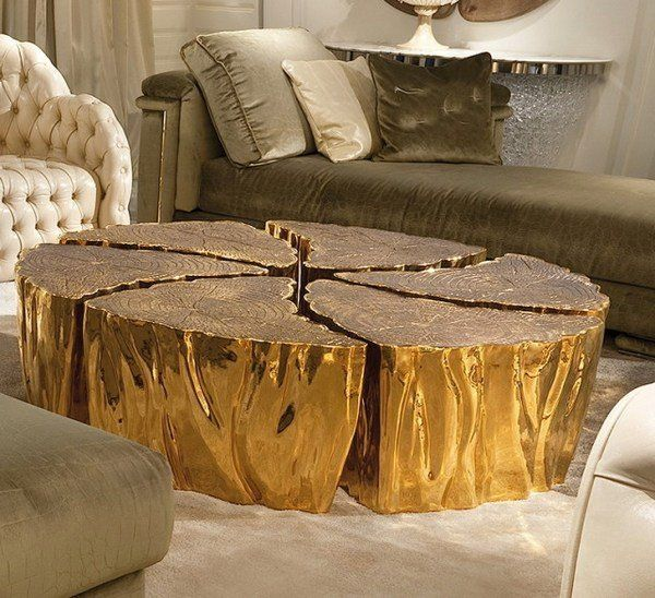 Unique Furniture Gold Tree Trunk Coffee Table Modern Living Room
