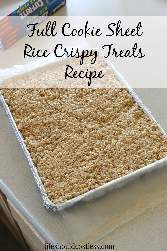 Full Cookie Sheet Rice Crispy Treats Recipe. This recipe makes them as thick as the pan and is enough to feed a crowd! {lifeshouldcostless.com} #crispytreats