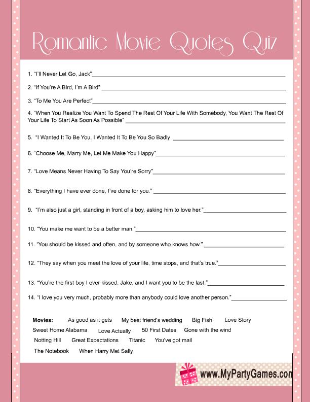 Free Printable Bridal Shower Romantic Movie Quotes Quiz Boo Boo's Interesting Quotes Quiz