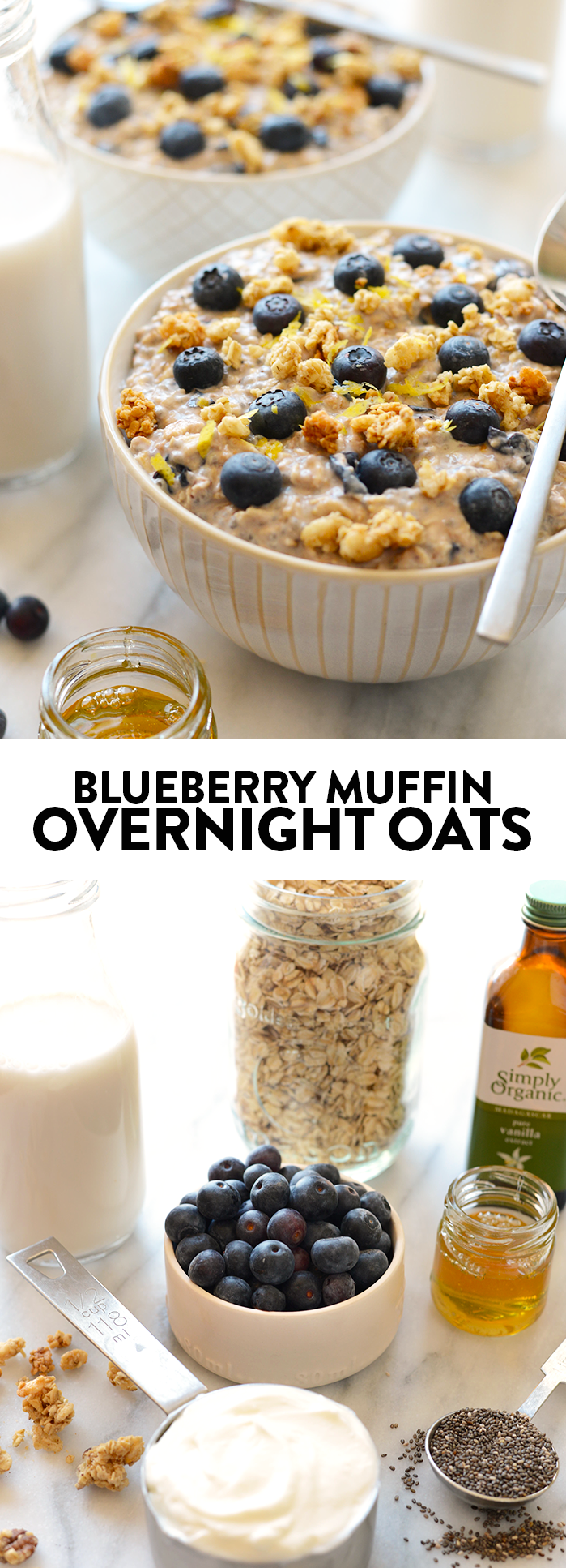 All the same flavors of a blueberry muffin but 100% better for you! Make these Blueberry Muffin Overnight Oats tomorrow for a healthy breakfast.