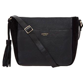 Osprey London Black Leather Suede Crossbody Bag