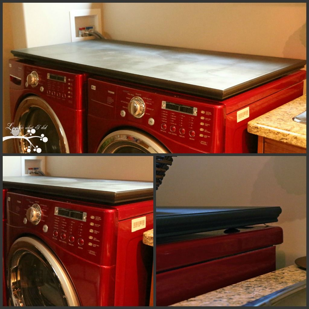 Lookie what i did laundry room makeover week counter for Laundry room countertop over washer and dryer