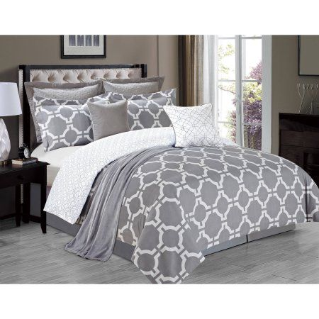 Belmore 8 Piece Comforter Set Gray Grey And White Comforter Comforter Sets Grey Comforter Sets