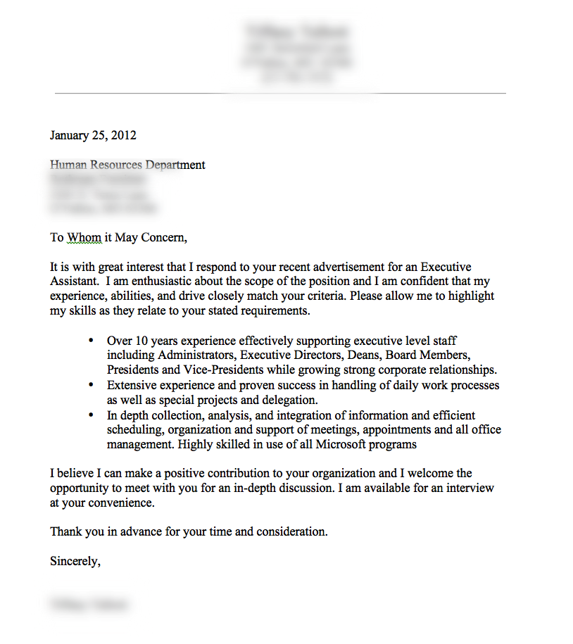 A Very Good Cover Letter Example.  Example Of A Resume Cover Letter