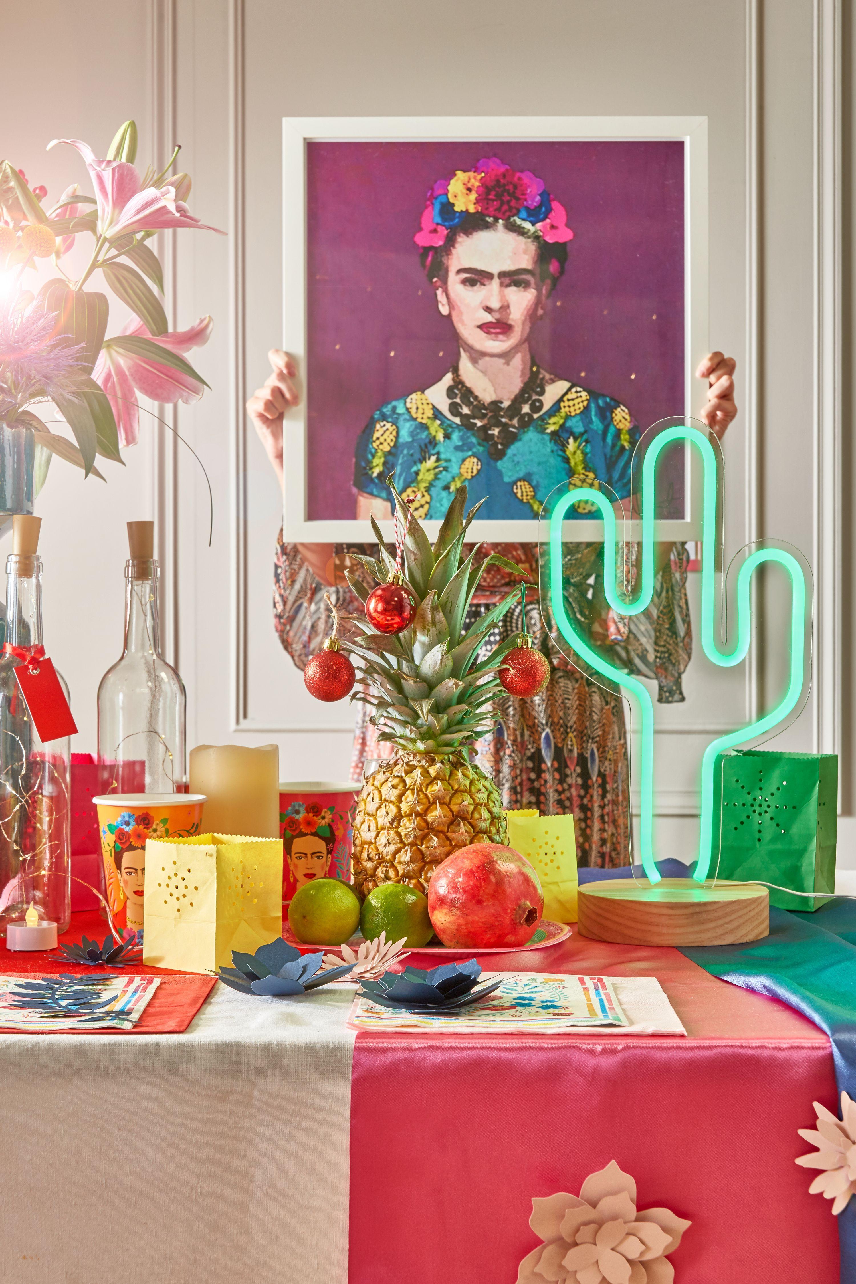 D coration no l mexique table multicolore no l n on cactus affiche trendy frida kahlo juniqe - Deco table multicolore ...