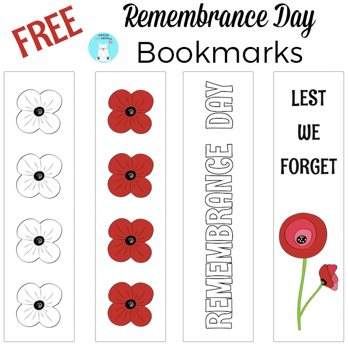 Remembrance Day Bookmark Freebies #remembrancedaycraftsforkids