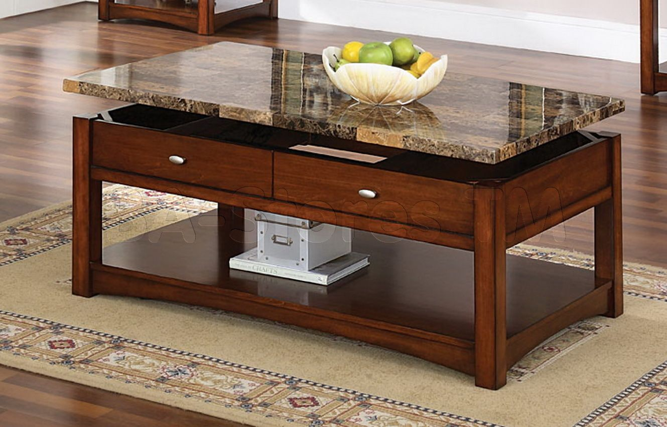 Jas Cherry Coffee Table With Faux Marble Lift Top Granite Coffee
