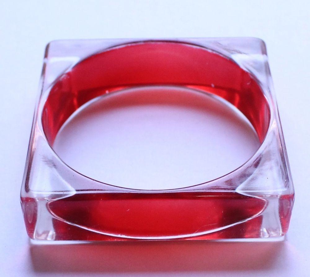 Vintage Retro Square Clear & Red Lucite Bangle Bracelet