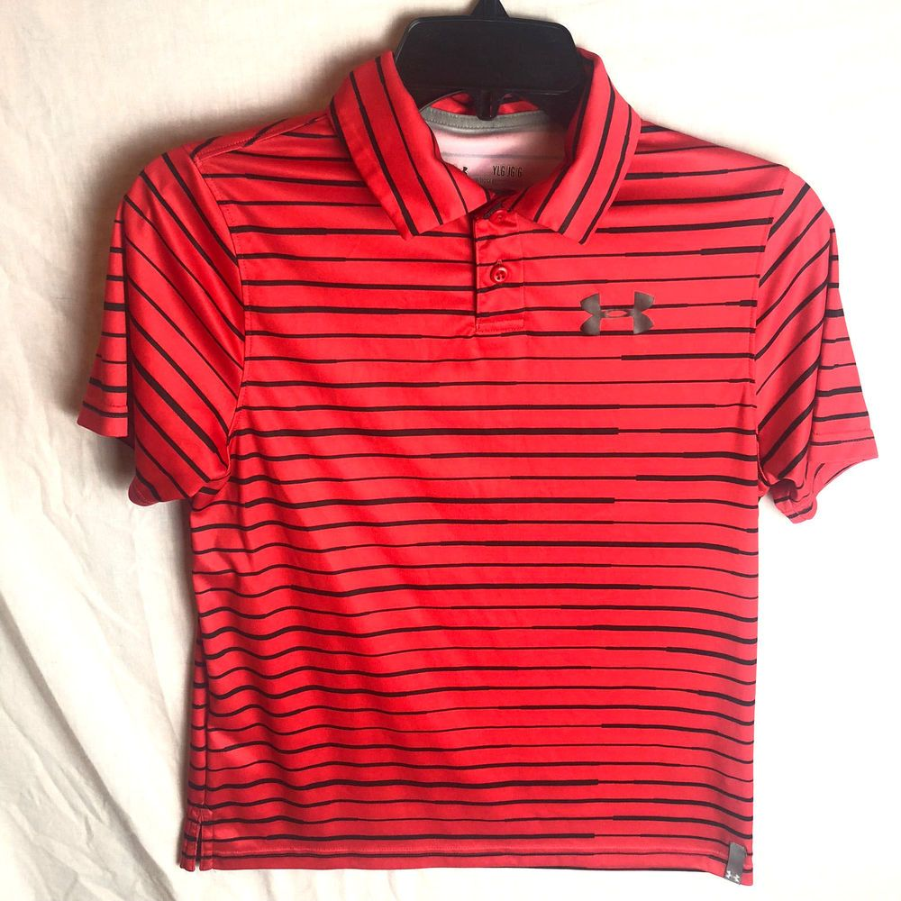 031895268 Under Armour Boys Stripe Polo Shirt YLG Large Red Black Loose Heatgear  Seismic #Underarmour