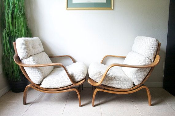 Mid Century Bentwood Lounge Chairs By Charlton England Attributed To Knoll,  Danish Modern Eames