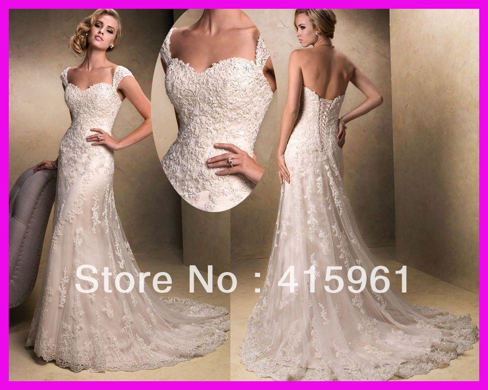 Vintage Cap Sleeve A Line Lace Bridal Wedding Dresses