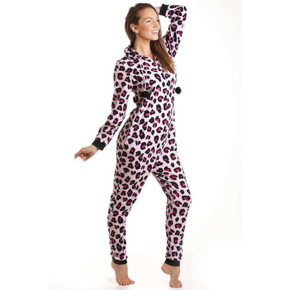 combinaison pyjama capuche en polaire motif l opard femme rose taille 36 46 44 46