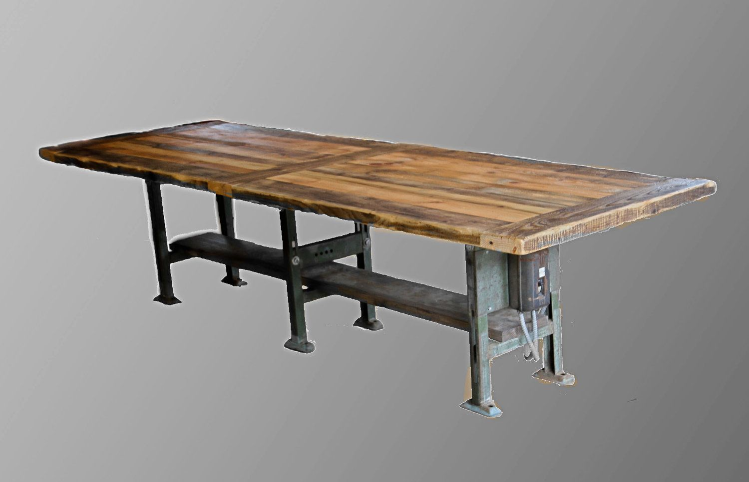 Warm Industrial Table. Reclaimed barn wood Door style top with ...