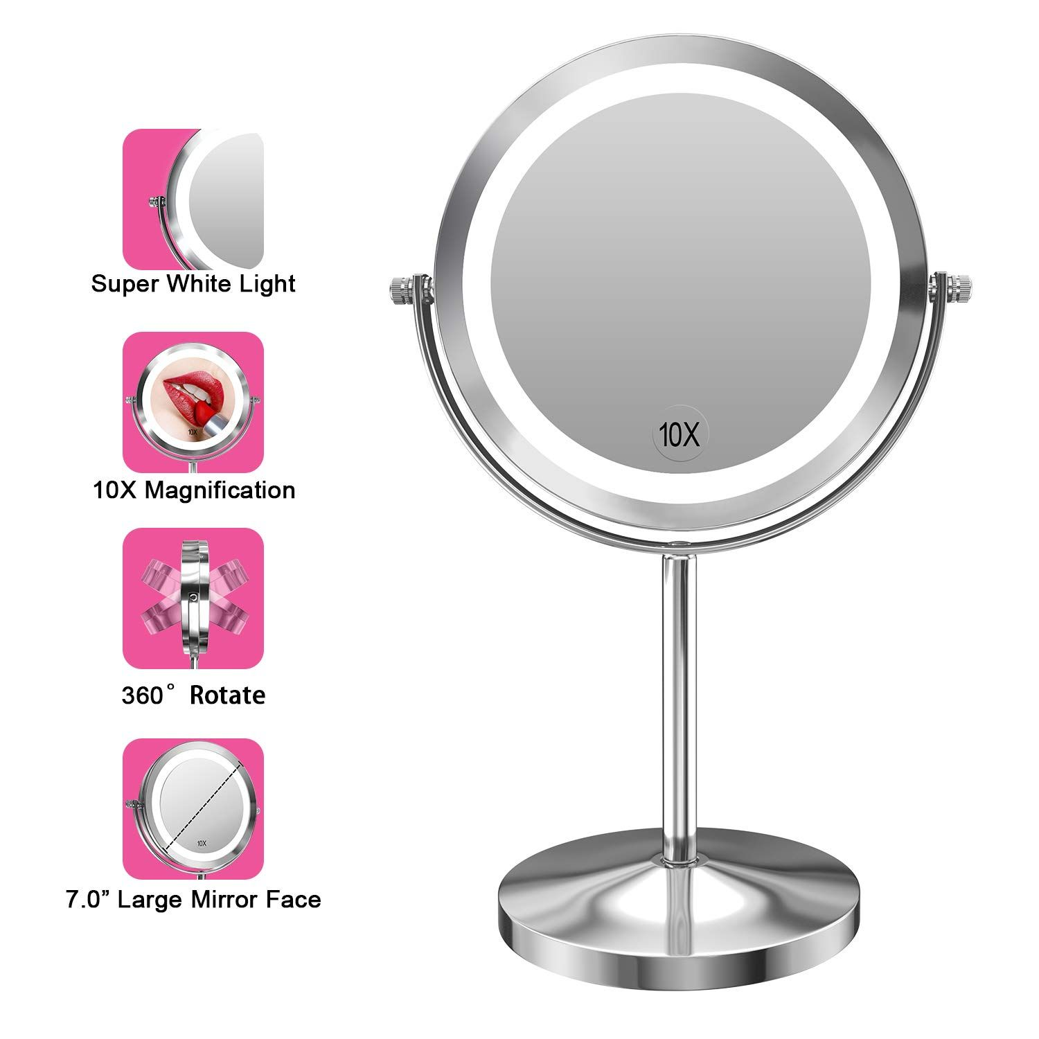 Gospire 10x Magnified Lighted Makeup Mirror Double Sided Round