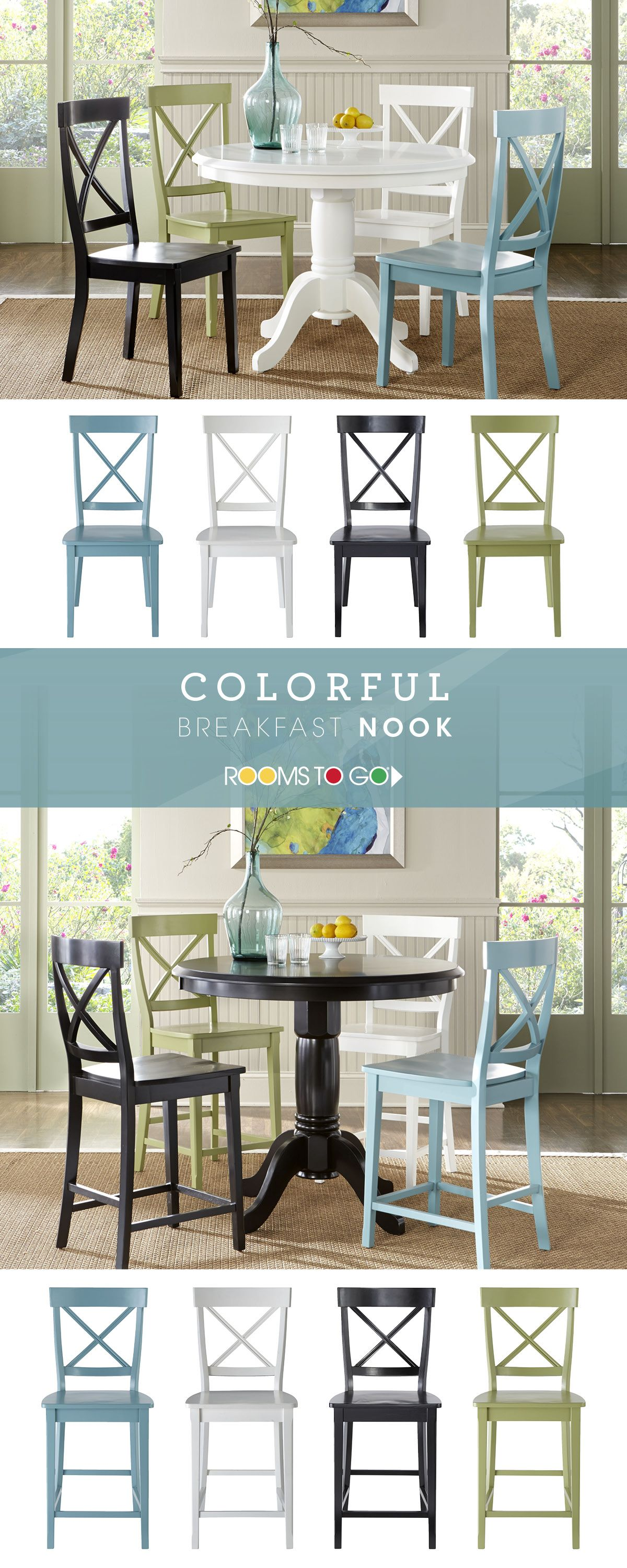 Designing Your Perfect Breakfast Nook With Two Table Heights And Plenty Of Colors To Choose From R Round Dining Room Round Dining Room Sets Dining Room Table