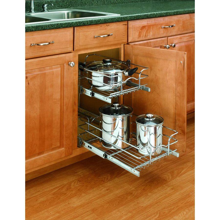 Superbe Rev A Shelf 2 Tier Metal Pull Out Cabinet Basket Item #: 278207 | Model #:  58 12C 2 5 2 Reviews | Write A Review $74.97
