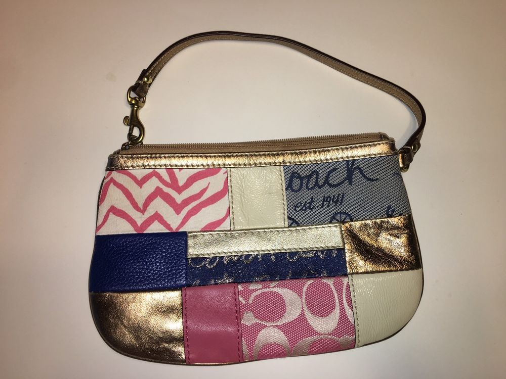 Coach F17098 Pink Multi Color Patchwork Large wristlet-RARE  | eBay