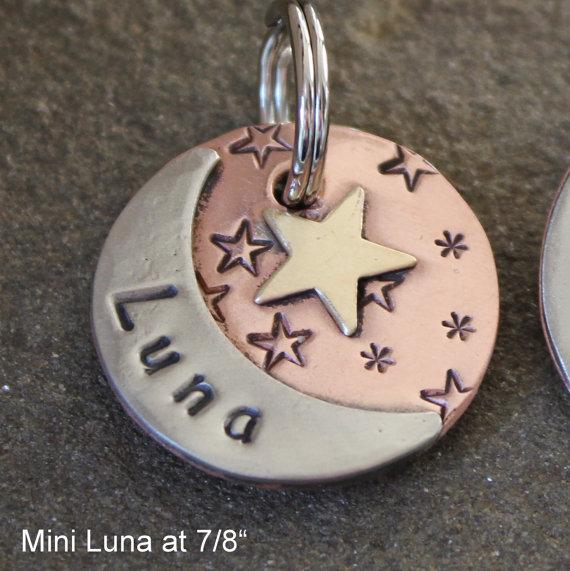 custom dog id tag pet tag with moon and start luna pet id tag